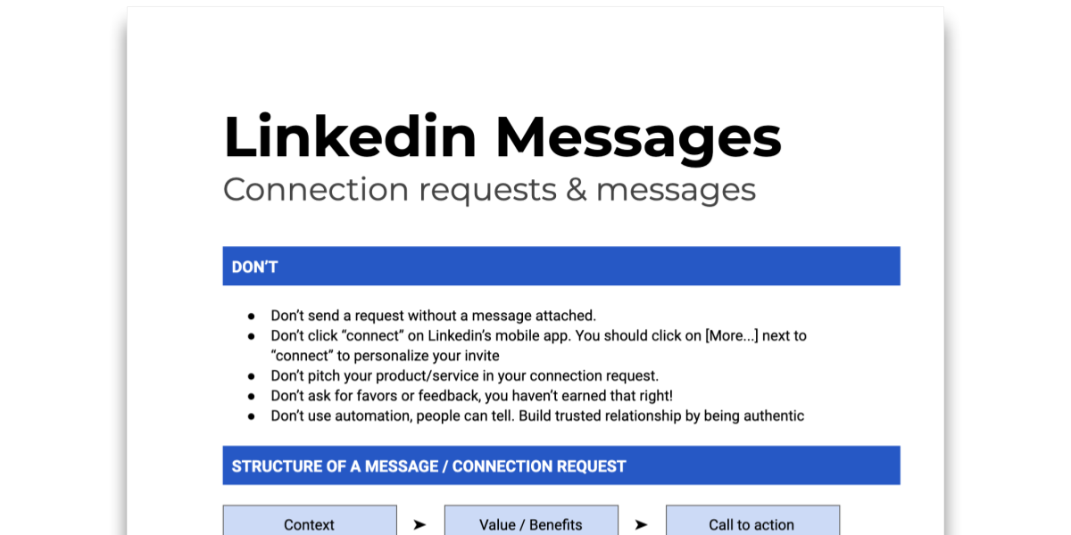 Snapshot of Tip sheet on Linkedin Messages with templates and best practices