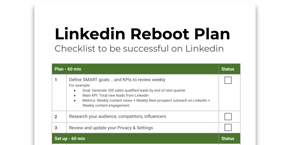 Snapshot of Tip sheet on how to build a plan to be successful on Linkedin