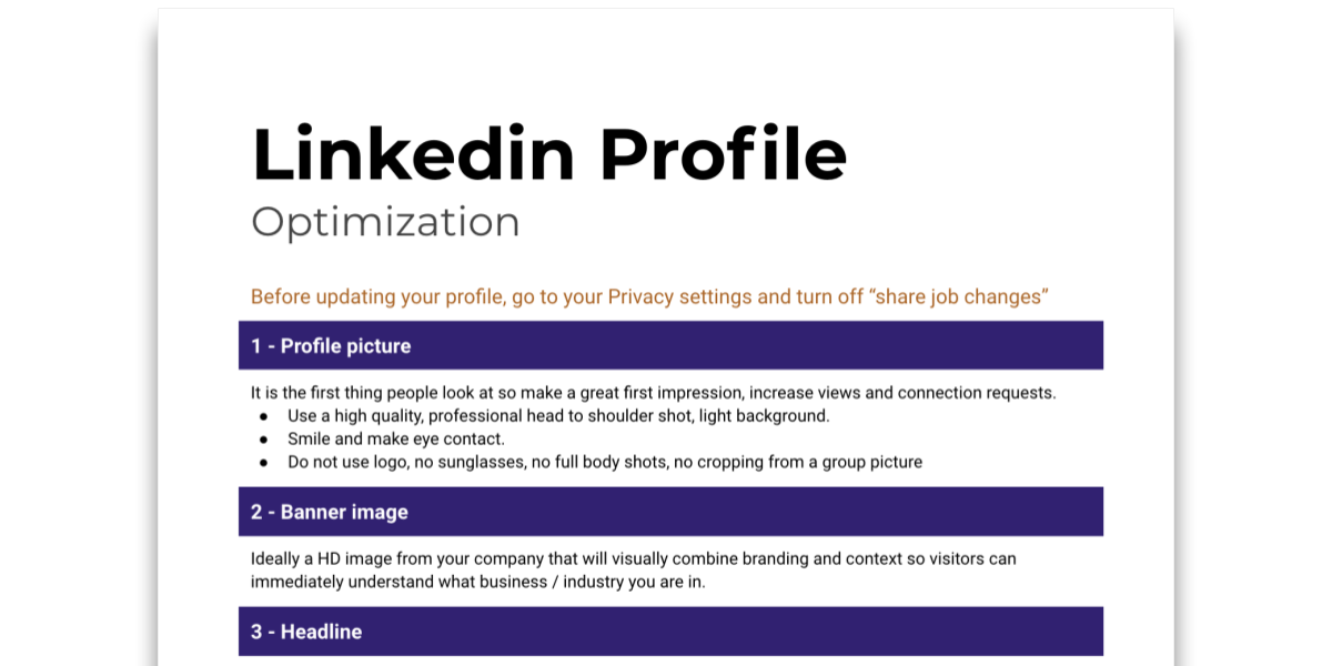Snapshot of Tip sheet on how to build and optimize a Linkedin Profile