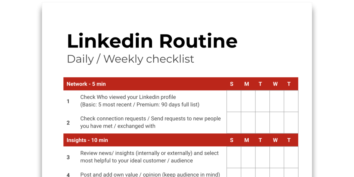 Snapshot of Tip sheet about Linkedin Routine and checklist