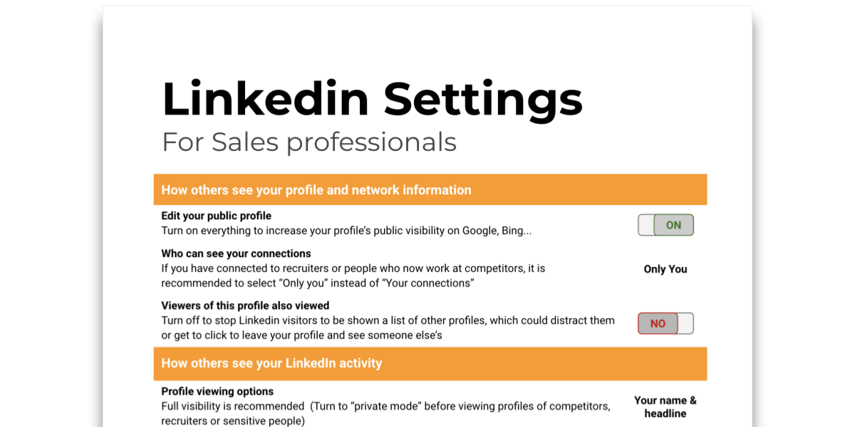 Snapshot of Tip sheet about Linkedin Settings
