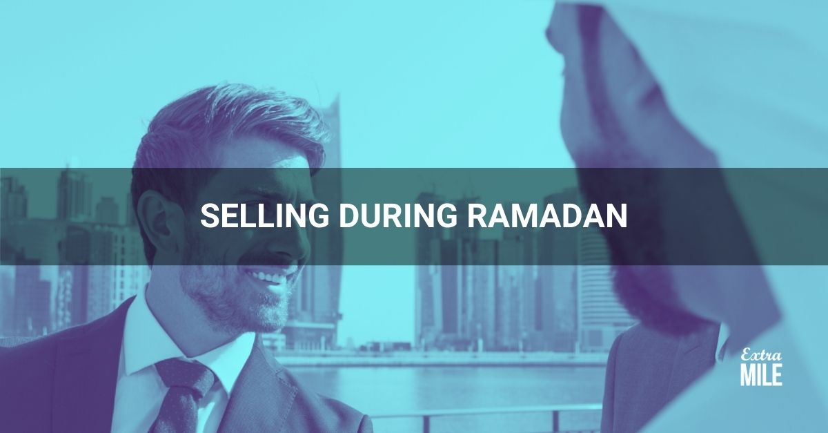 2 men talking with title: Selling during Ramadan